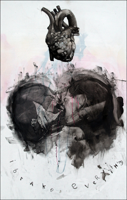 Antony Micallef - I Brake Everything - oil and charcoal on canvas.